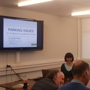 Dorina Pojani discusses parking issues at the Pontifical University of Chile