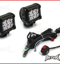 universal motorcycle 18 watt cree led spot driving lights complete wiring kit  [ 1024 x 768 Pixel ]