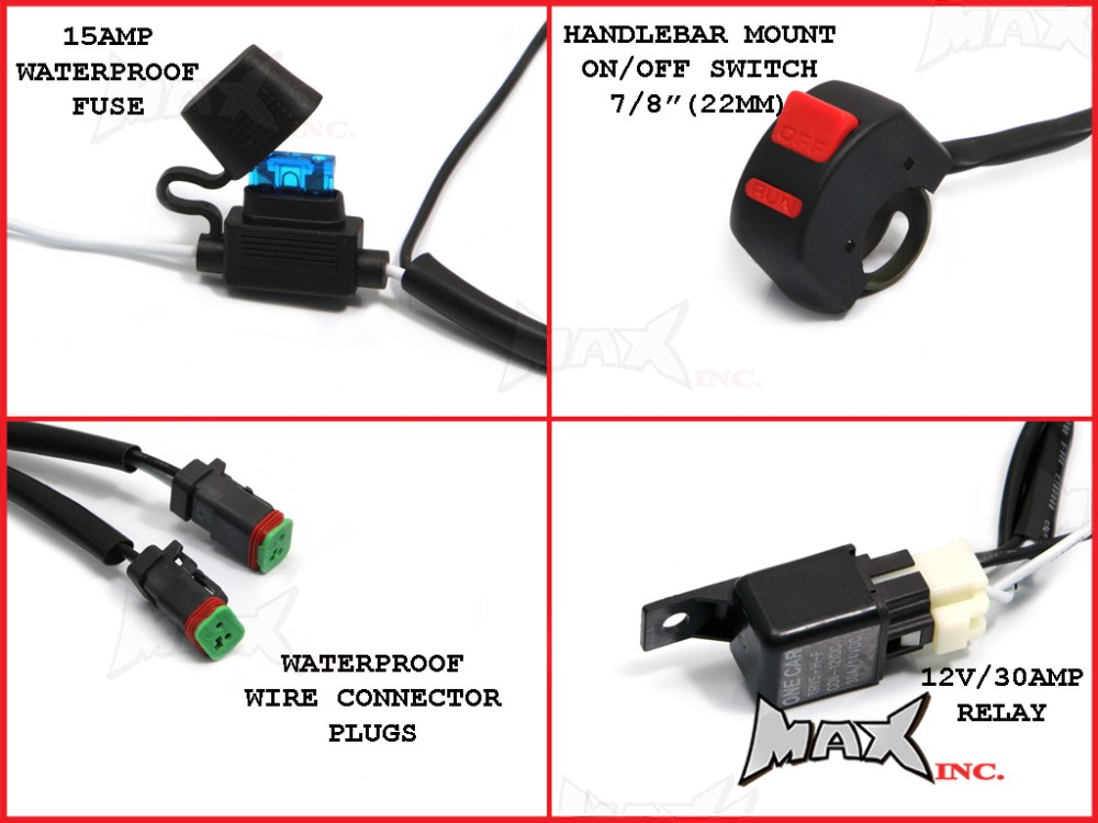 medium resolution of  universal motorcycle 18 watt cree led spot driving lights complete wiring kit