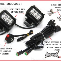 Wiring Diagram For Motorcycle Led Lights Marine Dual Battery System Universal 18 Watt Cree Spot Driving