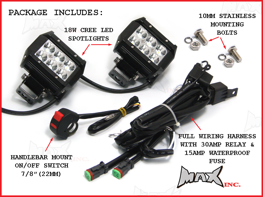 hight resolution of  universal motorcycle 18 watt cree led spot driving lights complete wiring kit