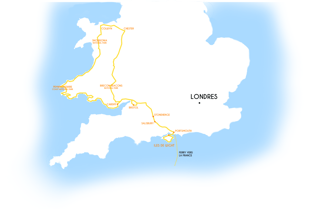 carte - itinéraire du road trip au Pays de Galles