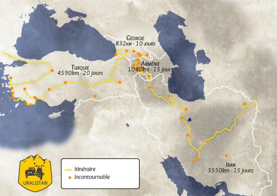 Itineraire du road-trip : Iran Turquie Arménie Géorgie