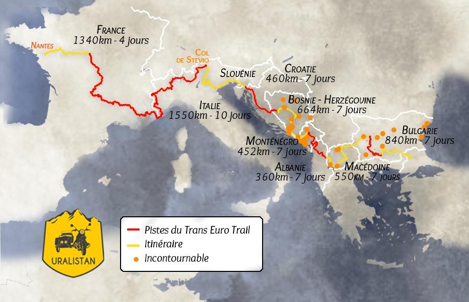 Itinéraire du road-trip : L'Europe Méditerranéenne via les pistes