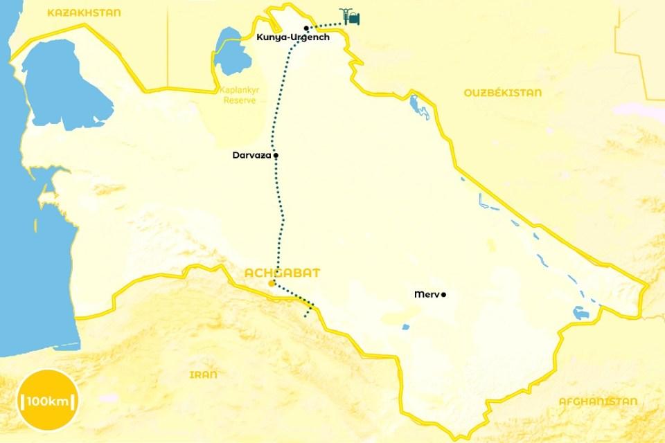 Roadtrip au Turkménistan - notre itinéraire - URALISTAN