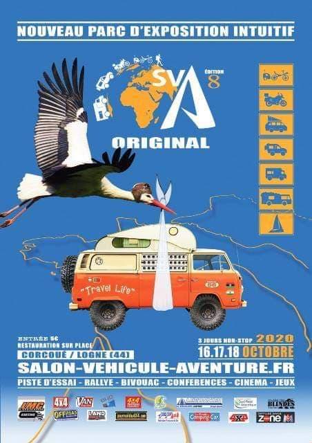 affiche du Salon du véhicule d'Aventure 2020 à Corcoué sur Logne