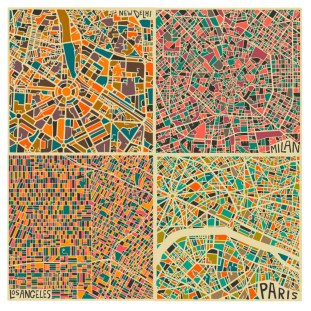 Villes du monde par Jazzeberry Blue https://urbabillard.wordpress.com/2014/01/25/les-abstractions-cartographiques-de-jazzberry-blue/