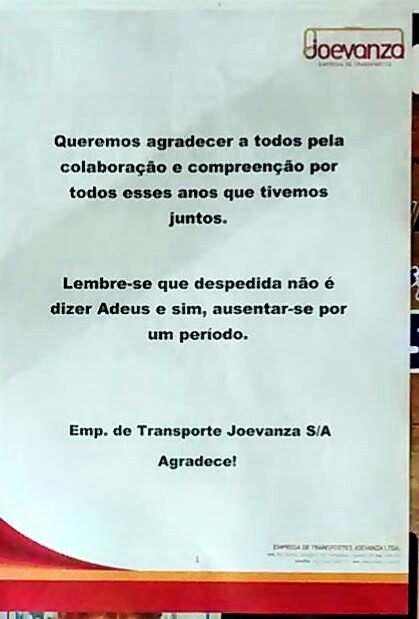 Carta de agradecimento da Empresa de Transportes Joevanza a população do bairro de Cabula, que deixou de contar com as operações da empresa no último sábado (18/4)
