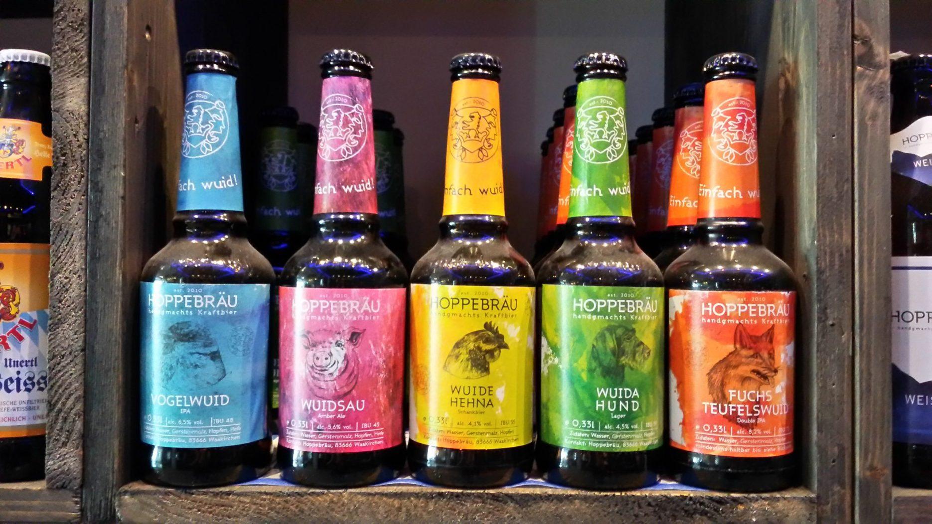 Bunte Bierflaschen, wunderschöne, exotische Etiketten!