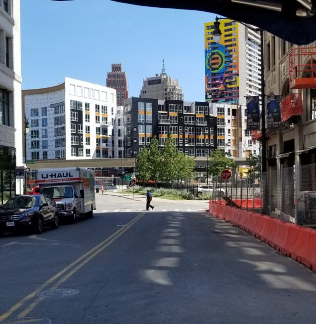 Residential and commercial construction in downtown