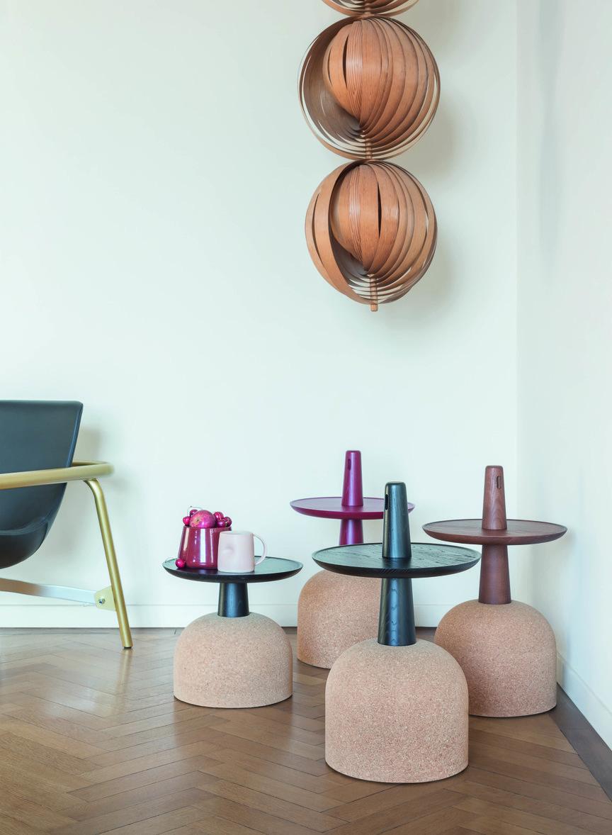 Mesas Assemblage, para a Bonaldo, por Alai Gilles, 35 x 59cm ou 33 x 33cm, base em cortiça, procure na Casas com design, casascomdesign.com