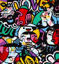 """Speedy Graphito, """"Happy Life"""". Présenté par Galerie Berthéas les Tournesols, Paris"""