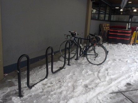 No bike parking issues on a snow bike.