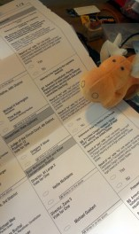moosemoose analyzes the ballot. Don't worry, moosemoose can't vote for me, he's Canadian.