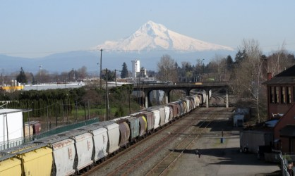 Mt Hood from the Vancouver Ave viaduct.