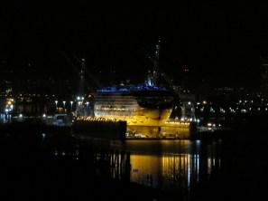 A cruise ship in Swan Island drydock