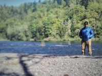 A man and the Sandy River.