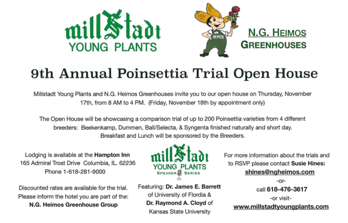 9th annual poinsettia trial open house millstadt young plants