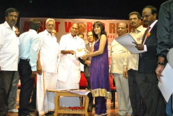 Wild Blossoms Receiving 3rd World Record Certificate from CM of Pondicherry on 15th Of October 2012