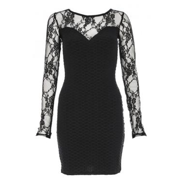 Black Basket Weave Lace Dress