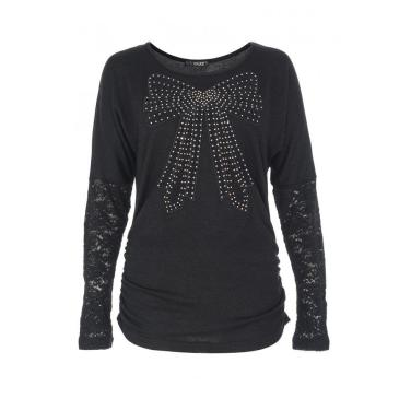 Black Lace Diamante Bow Top