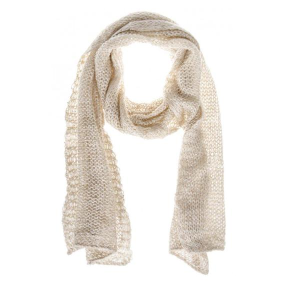 Cream Loose Knit Sequin Scarf