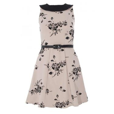 Stone and Black Flower Belt Marcella Dress