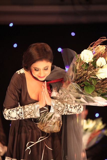 Bollywood star Urmila Matondkar thanks the audience at the Manish Malhotra Fashion Fundraiser in London in aid of The Angeli Foundation