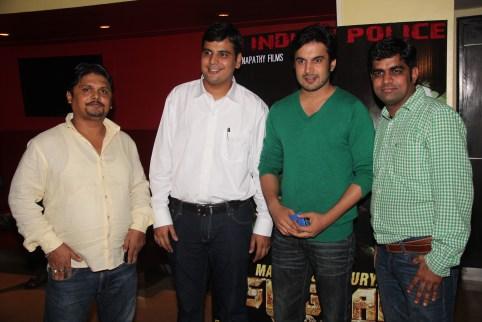 Producer. Chaitannyaswami with co-producer Manish Chanda,actor Ajay Chaudhary and co-producer Prem Kumar