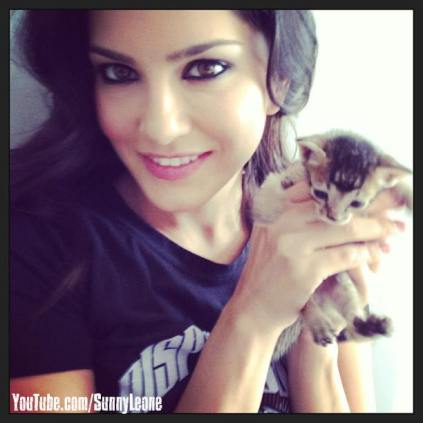 Sunny Leone and kitten