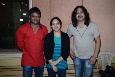 Bela Shende with Director Deepak Kadam and Music Director Ashish Donald