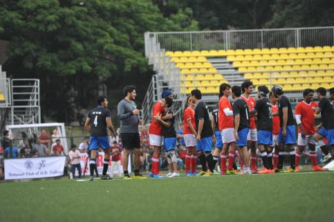 Actors Abhishek Bachchan, Aamir Khan, Dino Morea, Hrithik Roshan and Kunal Kapoor in action during the celebrity football match organized by by Aamir Khan`s daughter Ira Khan at Cooperage ground in Mumbai, on July 20, 2014.