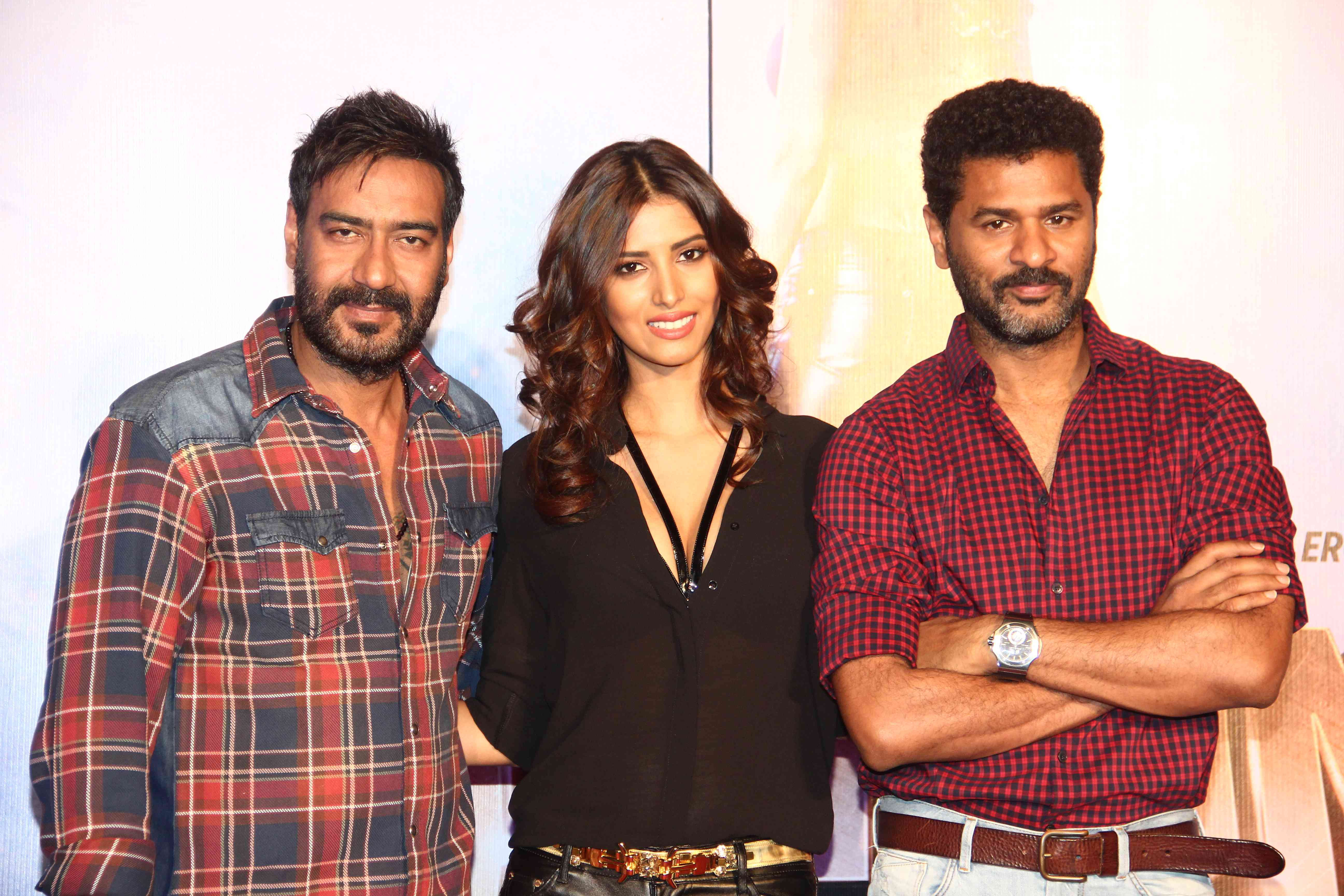 Ajay Devgn, Manasvi Mamgai and Prabhudheva during Gangster Baby Song Launch