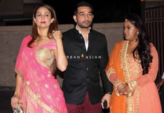Bollywood actor Amrita Arora along with her husband Shakeel Ladak and Arpita Khan