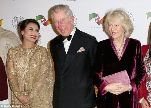 Charles and Camilla share a joke with Indian actress Rani Mukerji at the Banqueting House dinner