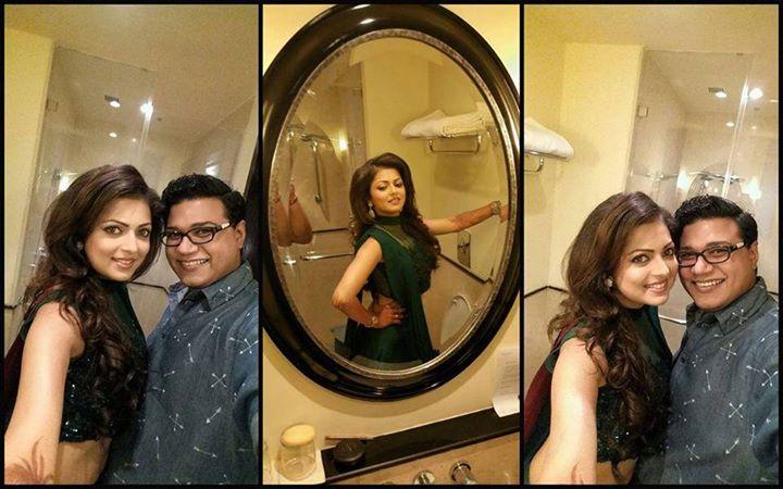 Drashti with the designer of her sangeet out, Cherag Bambboat