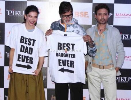 Bollywood actors Amitabh Bachchan, Deepika Padukone and Irrfan Khan during the trailer launch of film Piku