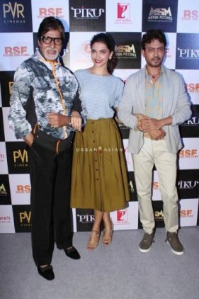 Bollywood actors Amitabh Bachchan, Deepika Padukone and Irrfan Khan during the trailer launch of film Piku in Mumbai