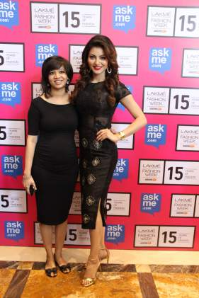 Designer Pallavi Singhee with Urvashi Rautela in designer's creation at Lakme 2015