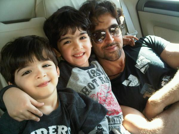 Hrithik with his two rockstars
