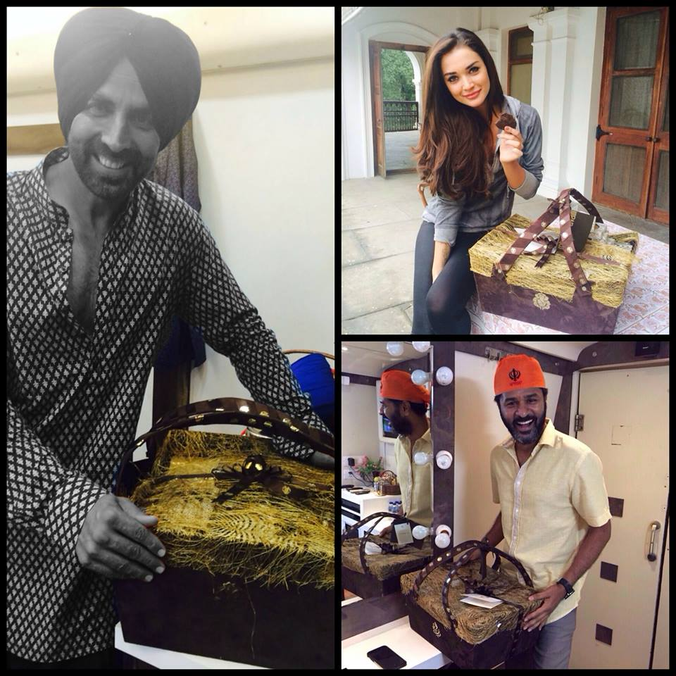 Our cast gets a luxurious welcome on the 1st day of #SinghIsBliing with goodies from Cavalli Caffe New Delhi_1