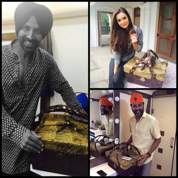 Our cast gets a luxurious welcome on the 1st day of ‪#‎SinghIsBliing‬ with goodies from Cavalli Caffe New Delhi_1