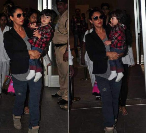 Abram and mommy Gauri Khan returning from Dubai