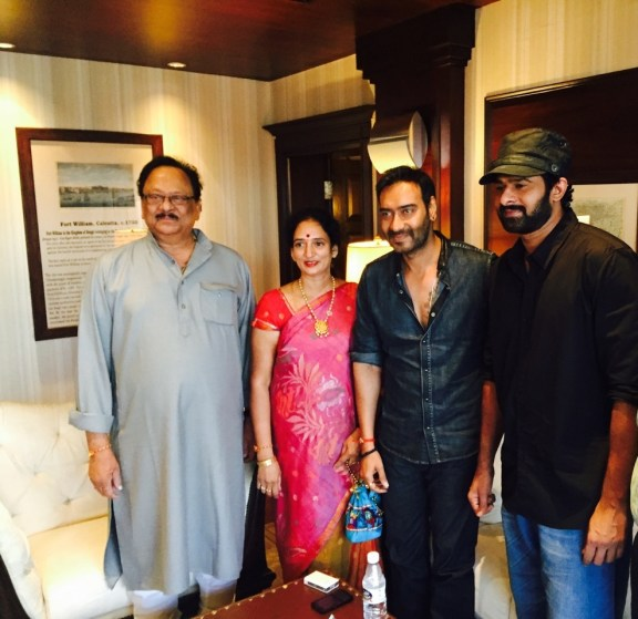 Ajay Devgn with Prabhas and his parents