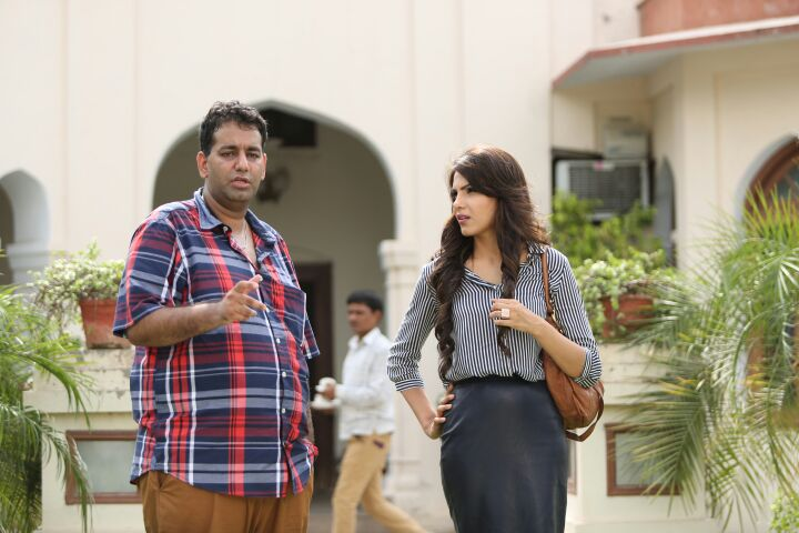 director mandeep kumar on sets with monica gill during the shoot of film kaptaan