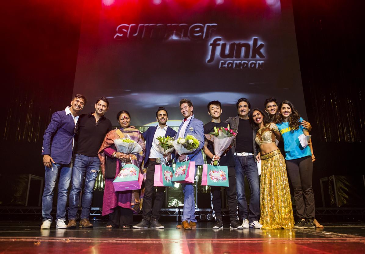 Shiamak Davar & Marzi Pestonji with the judges Ryan Jenkins, Mira Kaushik, Aakash Odedra & SHIAMAK Instructors - UK at SUMMER FUNK 2015 – Rise of the Champions.