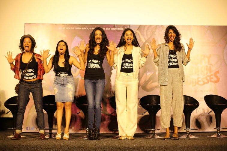 Starcast of the movie Angry Indian Goddesses (l-r ) Sandhya Mridul, Rajshri Deshpande. Sarah Jane Dias ,Pavleen Gujral & Anushka Manchanda with the famous tongue out selfie