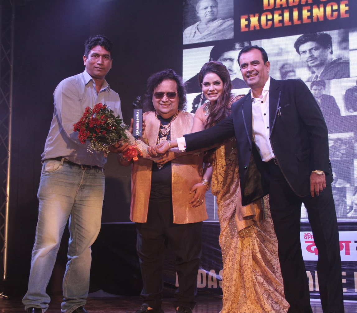 Satish Reddy Of World News Network, Bappi Lahiri, Poonam Jhawer With Yogesh Lakhani