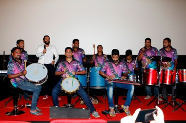 Riteish Deshmukh with the Banjo band during the trailer launch of Banjo