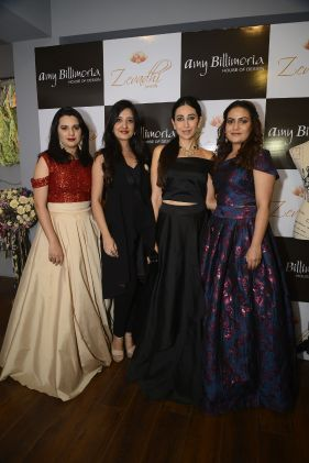 01 L-R Komal Ashtekar Hazare, Amy Billimoria, Karishma Kapoor and Meenakshi Joshi @ Amy Billimoria House of Designer & Zevadhi Jewels Festive Collection launch soiree
